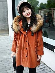 cheap -Girls' Solid Jacket & Coat,Wool Acrylic Winter Fall Long Sleeve Blushing Pink Camel Gray Army Green Khaki