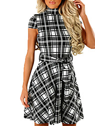 cheap -Women's Party Club Sexy Street chic Sheath Dress,Plaid Crew Neck Above Knee Short Sleeves Polyester Summer Fall High Rise Micro-elastic