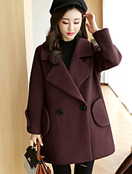 cheap -Women's Going out Street chic Winter Fall Coat,Solid Notch Lapel Regular Wool Cotton Polyester