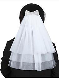 abordables -velo de novia de tres niveles velos de hombro con volantes de tul accesorios de boda