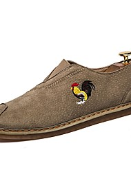 cheap -Men's Shoes Knit PU Spring Fall Comfort Loafers & Slip-Ons For Casual Khaki Gray Black