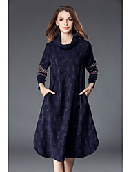 cheap -SHE IN SUN Women's Daily Work Casual Street chic Shift Dress,Patchwork Embroidered Turtleneck Midi Long Sleeves Polyester Winter Fall Mid Rise