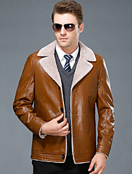 Men's Casual/Daily Simple Vintage Fall Winter Leather Jackets,Solid Shirt Collar Long Sleeve Regular Lambskin