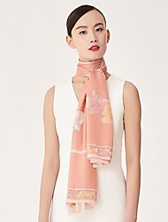 cheap -Women's Silk Rectangle Print Spring/Fall All Seasons