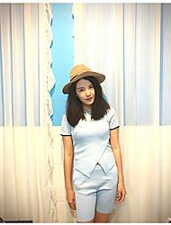 preiswerte -Damen Kunst-Pelz Kurzarm Pullover-Solide Hemdkragen
