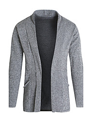 cheap -Men's Daily Casual Regular Cardigan,Solid Shirt Collar Long Sleeves Polyester Fall Medium Micro-elastic