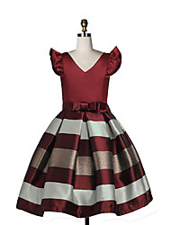 Girl's Birthday Daily Holiday Solid Striped Dress,Cotton Fall All Seasons Short Sleeve Wine