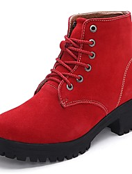 Women's Shoes Suede Winter Combat Boots Boots Low Heel Round Toe Lace-up For Casual Red Brown Black