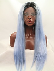 cheap -Women Synthetic Wig Lace Front Long Straight Black/Smoke Blue Natural Hairline Natural Wigs Halloween Wig Costume Wig