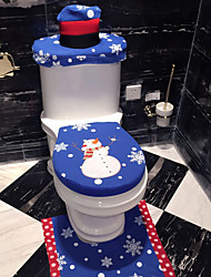 cheap -3Pcs/Set Christmas Bathroom Products Decoration Blue Snowman Toilet Seat Cover
