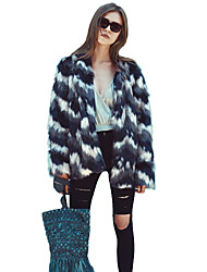 Women's Daily Work Simple Casual Winter Fall Fur Coat,Striped Color Block Round Neck Long Sleeve Regular Rabbit Fur Raccoon Fur