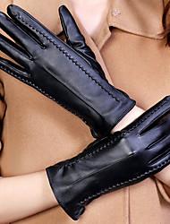 baratos -Feminino Cor Pura Acessórios Casual Luvas de Inverno Prova-de-Água Mantenha Quente A prova de Vento Fashion Pele PU Inverno Até o Pulso