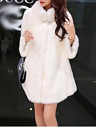 economico -Cappotto di pelliccia Standard Per donna Per uscire Semplice Casual Inverno Autunno, Tinta unita Colletto alla Peter Pan Poliestere