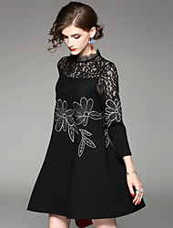 EWUS Women's Daily Going out Street chic A Line Dress,Embroidered Stand Knee-length Long Sleeves Cotton Polyester Winter Mid Rise Inelastic