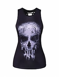 cheap -Women's Daily Vests Tank Top,Print Round Neck Sleeveless Others