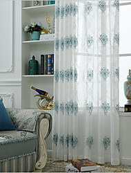 cheap -Rod Pocket Grommet Top Tab Top Double Pleat Pencil Pleat Curtain European, Embroidery Embroidery Bedroom Material Sheer Curtains Shades