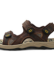 cheap -Men's Shoes Cowhide Summer Comfort Sandals For Casual Brown Coffee Black
