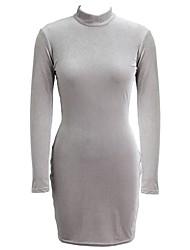 Moulante Robe Femme Soirée Sexy,Couleur Pleine Col Roulé Mini Manches Longues Coton Polyester Autres Velours Toutes les Saisons Taille