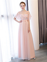Sheath / Column V-neck Ankle Length Satin Tulle Satin Chiffon Formal Evening Dress with Flower(s) by Embroidered bridal