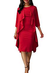 Gaine Robe Femme Soirée Sortie Sexy,Couleur Pleine Col Arrondi Mi-long Manches Longues Rayonne Automne Taille Haute Micro-élastique Moyen