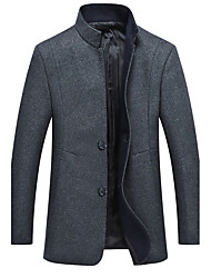 cheap -Men's Daily Plus Size Simple Casual Winter Pea Coat,Solid Stand Long Sleeve Regular Wool Polyester