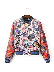 cheap -Women's Daily Simple Casual Winter Jacket,Print Round Neck Long Cotton