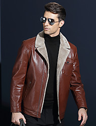 cheap -Men's Daily Street chic Winter Leather Jacket,Solid Shawl Lapel Long Sleeve Short Lambskin