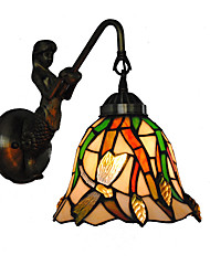 economico -diametro 18cm retro sirena paese tiffany parete luci vetro ombra soggiorno camera da letto lampada