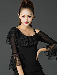 cheap -Latin Dance Tops Women's Performance Ice Silk Lace Pleated 3/4 Length Sleeve Tops