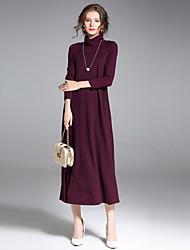 preiswerte -Damen Lang Pullover-Ausgehen Lässig/Alltäglich Street Schick Anspruchsvoll Solide Rollkragen Langarm Baumwolle Nylon Elasthan Winter