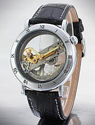 baratos -Homens relógio mecânico Impermeável Couro Banda Preta / Marrom / Automático - da corda automáticamente