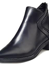 baratos -Feminino Sapatos Couro Ecológico Inverno Conforto Botas da Moda Botas Dedo Apontado Botas Curtas / Ankle Ziper Para Casual Preto Vinho
