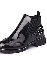 cheap -Women's Shoes PU Winter Fashion Boots Boots Low Heel Round Toe Rivet For Casual Black