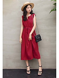 cheap -Women's Daily Swing Dress,Solid V Neck Midi Sleeveless Cotton Linen Summer Mid Rise Micro-elastic Thin