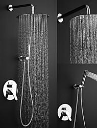 abordables -Contemporain Système de douche Douche pluie Soupape céramique 1 trou Chrome, Robinet de douche