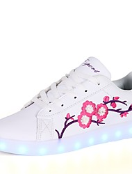 cheap -Women's Shoes PU Winter Fall Comfort Light Up Shoes Sneakers Round Toe for Casual Green Pink/White White/Blue