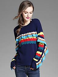 Standard Pullover Da donna-Per uscire Casual A strisce Rotonda Manica lunga Poliestere Autunno Inverno Medio spessore Elasticizzato