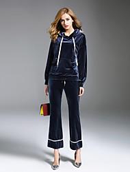 Sweat à capuche Pantalon Costumes Femme,Rayé Sports Décontracté / Quotidien simple Automne Hiver Manches longues Brodée non élastique