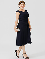 cheap -A-Line V Neck Tea Length Chiffon Mother of the Bride Dress with Buttons Pleats by LAN TING BRIDE®