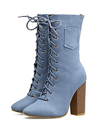 cheap -Women's Shoes Denim Fall Winter Comfort Novelty Fashion Boots Bootie Boots Chunky Heel Pointed Toe Mid-Calf Boots Lace-up For Office &
