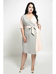 preiswerte -Damen Übergrössen Hülle Kleid Einfarbig V-Ausschnitt