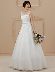cheap -Ball Gown Scoop Floor Length Tulle Wedding Dress with Beading Appliques by LAN TING BRIDE®