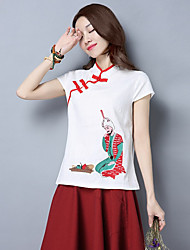 Women's Casual/Daily Chinoiserie Shirt,Embroidery Stand Short Sleeves Cotton Linen
