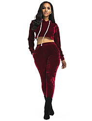 abordables -Mujer Corto Sudadera - Un Color Con Capucha Pantalón