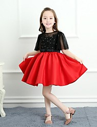 cheap -A-Line Short / Mini Flower Girl Dress - Lace Satin Half Sleeves Jewel Neck with Beading Bow(s) by LAN TING BRIDE®