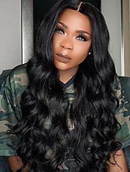 cheap -Women Human Hair Lace Wig Brazilian Human Hair 360 Frontal 150% Density With Baby Hair Loose Wave Wig Black Black Short Medium Length Long