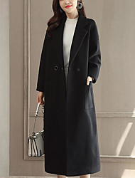 Для женщин На каждый день Осень Зима Пальто Рубашечный воротник,Простой Однотонный Длинная Длинный рукав,Шерсть Полиэстер