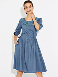 cheap -Women's Daily A Line Denim Dress,Solid Embroidered Round Neck Knee-length Long Sleeves Cotton Summer High Rise Micro-elastic Thin