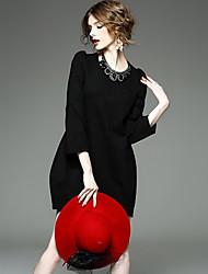 cheap -Women's Plus Size Loose Little Black Dress - Solid, Ruched
