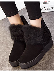 Women's Shoes Nappa Leather Winter Fashion Boots Boots Flat Heel Booties/Ankle Boots For Casual Khaki Black